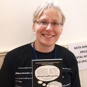 Janice, Trustee of Bath Mind, promoting Mental notes at World Mental Health day 2015