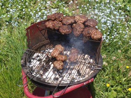 Lamb burgers on the grill